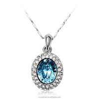 OUXI new design zircon blue crystal pendant necklace from swarovski 10202