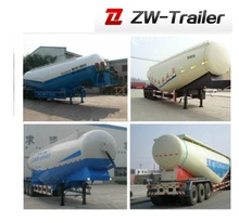 tri axle 60CBM bulk powder tanker truck trailer with parabolic leaf spring(other volume available)