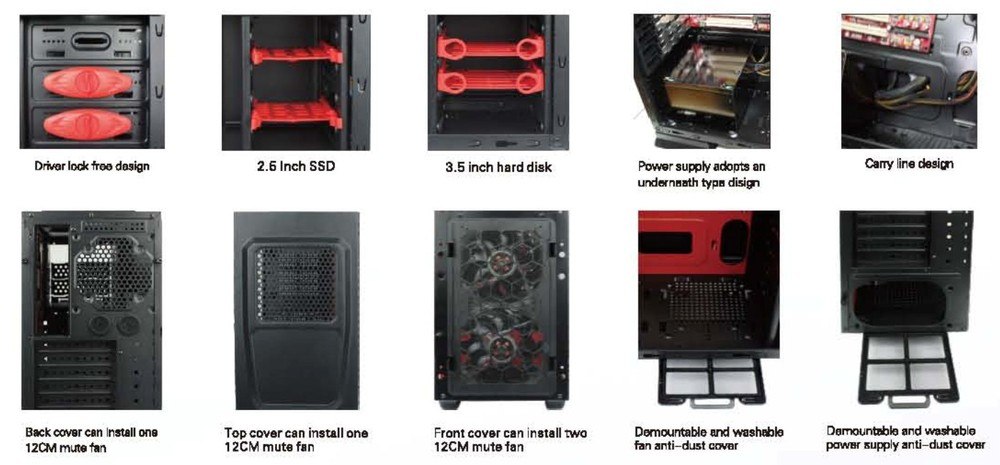 Gaming Pc Case With External Atx Power Supply Led Fan For Pc Game ...