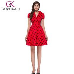 GK Vintage Cotton Polka Dots Short Sleeve 50s red and black polka dot Rockabilly Dress CL6089-4