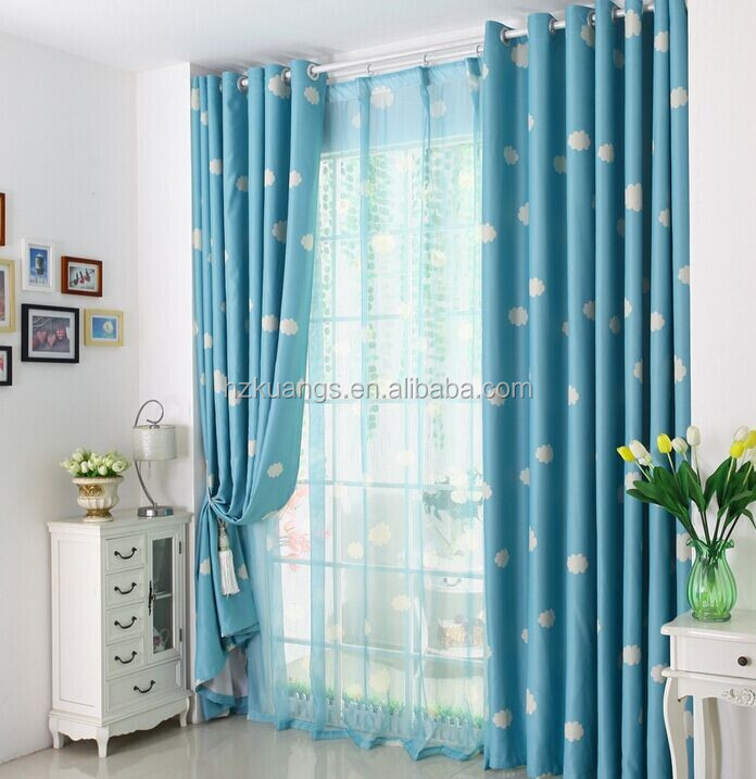 Blue sky white cloud pattern curtain fabric for baby room for Curtain fabric for baby nursery