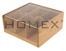 Bamboo Tea Box With Arylic Lid/Tea Chest With Six Blocks/Homex_FSC/BSCI