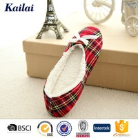 2015 Fascinating plaid fabric bowknot ballet dance shoes
