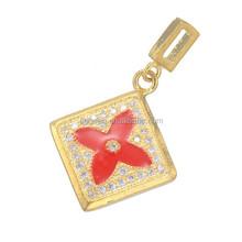 2015 Gold Square Necklace Pendant Pave Zircon Enamel Flower Pendant
