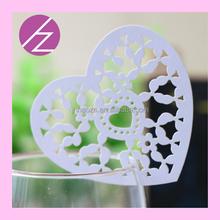 Laser cut heart card for wine glass place card JK02 Haoze brand