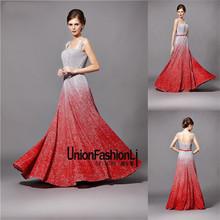 Bonito bling gradiente vermelho prata vestidos de noiva para sale sexy backless chão vestido de casamento com red sash novos modelos