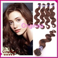 New Large stock 18 inch human hair extensions body wave Natural brown 21pcs/pack