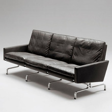 Poul Kjaerholm Modern leisure chair & 3 seater leather sofa with stainless steel stainless steel leather sofa leisure sofa