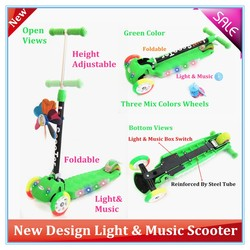 2015 New Designs Three Wheels Kick Scooter With Music & Light
