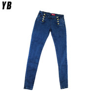 Washed fashion knitted tall women's fancy denim jeans ladies sex jeans
