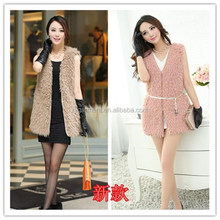 2015 Fashional beautiful faux fur vest