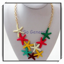 Large Size Colorful Starfish Pendant Link Necklace Jewelry