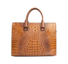 good quality crocodile skin genuine leather business handbag for men