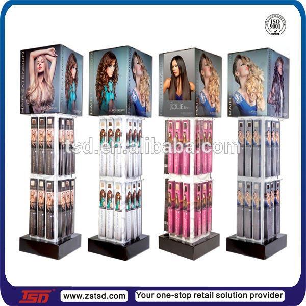 Retail Store Round Wooden Hair Extension Display Standhair Wig