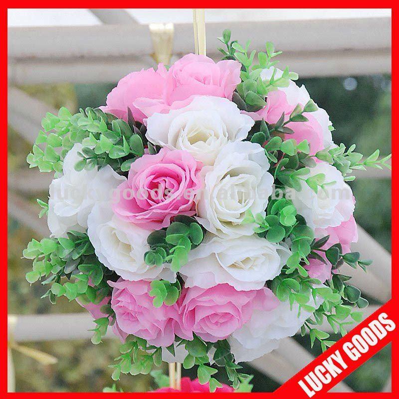 Rose et blanc de bal de mariage / artificielle boule de fleurs pour le mariage décoration, Hanging boule fleur