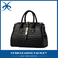 2015 new design geniune leather bag Crocodile europe style women tote bag trendy purses and handbags