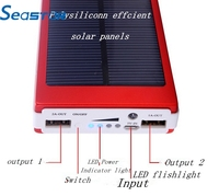 2015 Wholesale 5000mah Mobile For Iphone Samsung Huawei, led portable 5v battery power supply, Waterproof Solar Power Bank