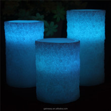 Fancy Design LED Flower Pattern Grave Candle Carving Popular with Distributors