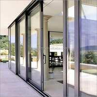 aluminum multi track glazed glass sliding door
