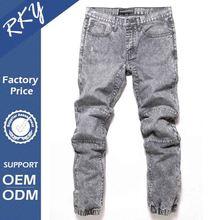 2015 Mens Jogger Jeans Acid Wash Denim Pant Moto Design Grey Wash Jeans 35092