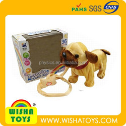 mini size musical draging plush puppy battery operated swing dog