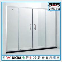 middle open sliding door 6mm Toughened Glass shower door 1500mm