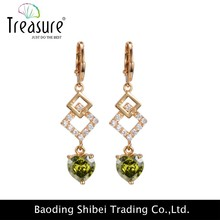 2015 New Design gold plated green cubic zircon piercing