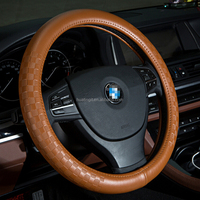 customized high quality car leather steering wheel cover with popular design