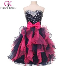 2014 Hot Selling Black and Red Cheap Puffy Cocktail Dresses Short CL4976