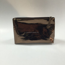 2015 NEW shiny pu cosmetic bag with zipper on top