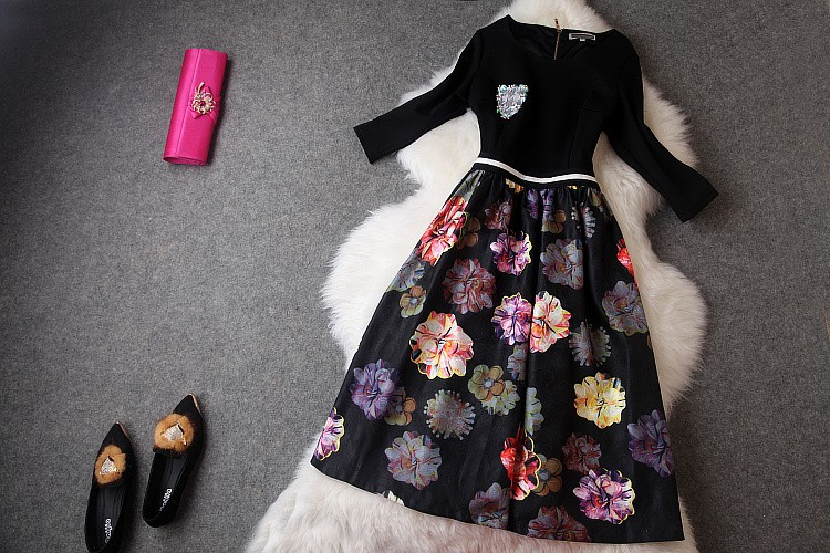 платья осень-зима дизайнер женщин платья черные Верхний красочный цветок печати снизу Подол моды винтажные бренда длинное платье