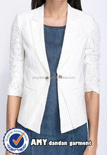 Lady Career Coat /Business Crop Sleeves Jacket/ Women Lace Covering Blazer