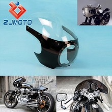 """5 3/4"""" Bright Black + Clear Motorcycle Front Headlight Fairing&Windshield Universal For For Custom Sportster Dyna Cafe Racer"""