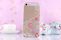 2015 hotsale clear phone Back cover soft TPU case For iPhone 5 5S Flower Rattan cute 3D relief Printing