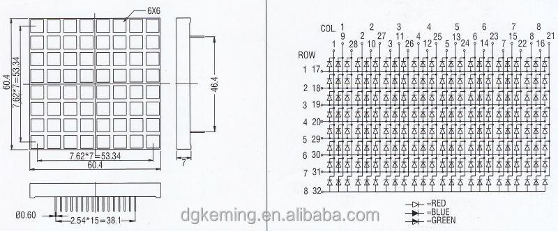 Promotion square dot 60.2x60.2mm led sign 8x8 rgb led matrix