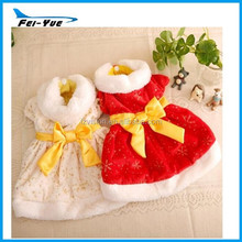 2014 Hotsale plush winter dog coat small dog Xmas clothes red and beige color