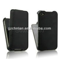 2013 Newest Black hot pressing leather flip case for iphone 4