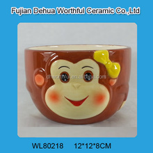 Hand painted ceramic bowl with monkey pattern