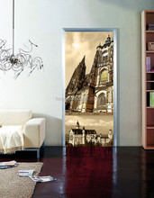 Self-adhesive door sticker with famous building