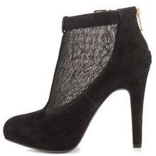 2015 China Wholesale Sexy Lace Suede Ankle Boots Black Patent Boots Ladies High Heel