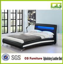 Modern Design Leather Upholstered Black Bed With Led Light