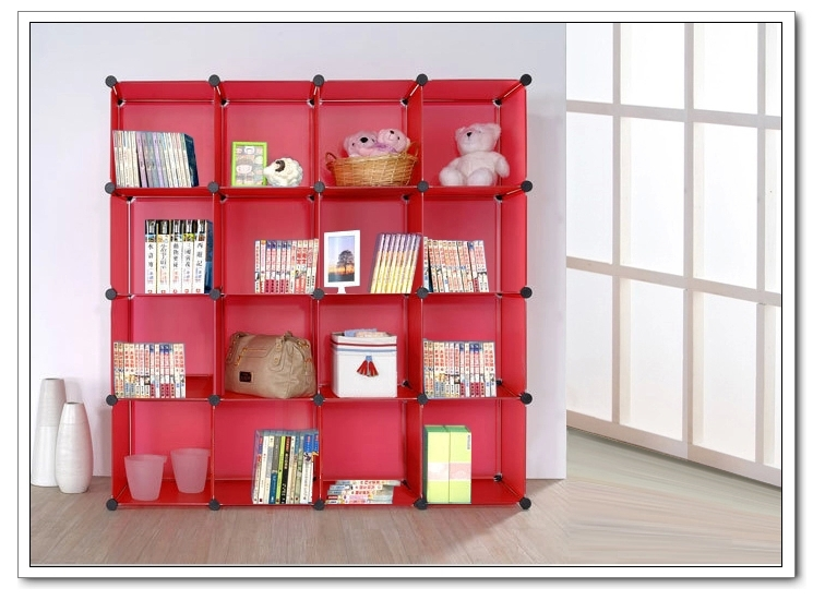 16 cubes white diy creative study room furniture plastic for Portable book shelves