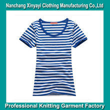 2014 Women's Clothes with Stripe in Bulk Customized T-Shirt Quality Products Cotton Fabric Apparel Wholesale