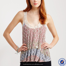 woman fashion lace trim casual Tops cheap oem ladies blouses tunics in printed summer