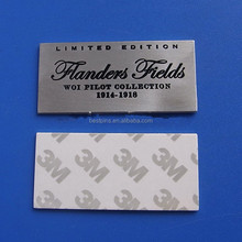 custom rectangle vintage silver metal logo plates, 1914-1918 woi pilot collection limited edition metal nameplate