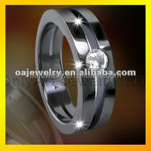 mens luxury titanium ring jewelry with zircon, paypal acceptable, made in China