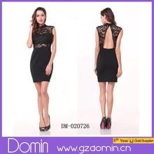 Elegant Black Sleeveless Cut Out Back Lace Short Dress