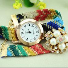 2015 New design leather wrap bracelet pearl gems tone watch women Hot sale crystal watch ladies gemstone watch wholesale