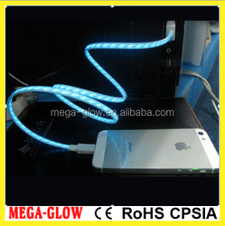 LED EL Flowing light USB cable Visible Flow EL Light USB Charging Sync Cable