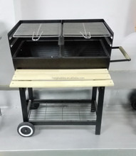 66X40CM barrel charcoal BBQ with double cooking grill and front table